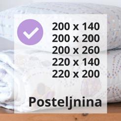 Posteljnina 140x200 in 200x200 odgovarjata standardnim dimenzijam odej in postelj.